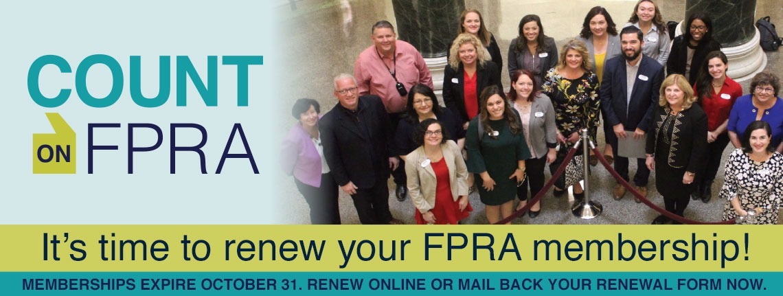 Count on FPRA: It's time to renew your FPRA membership!
